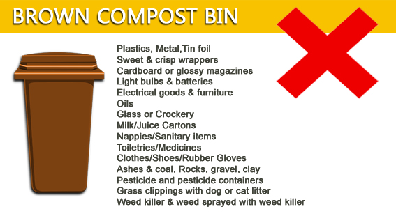 What doesn't goes in your brown bin